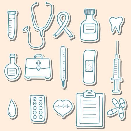 Medical sticker icons. Vector illustration Vector