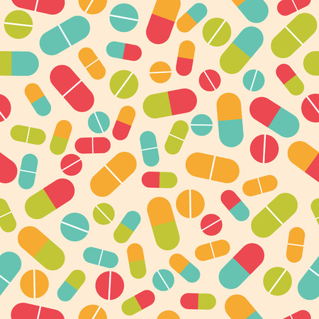 Pills collection. Medical pills and capsules seamless pattern. Colorful pharmacy background. Vector illustration Stock Illustratie