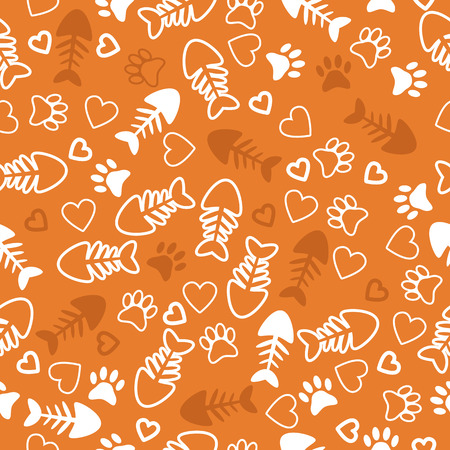 Seamless pattern with cat paw prints, fish bone and hearts. Orange background. Vector illustration Vector