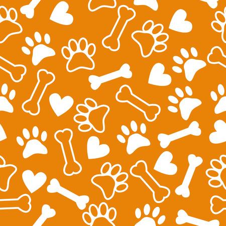 강아지 발 인쇄, 뼈와 마음 원활한 패턴. 벡터 일러스트 레이 션