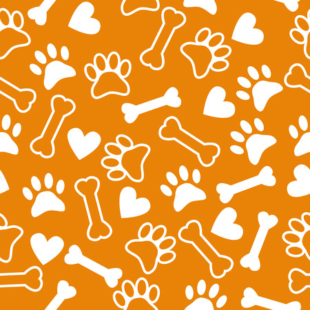 Seamless pattern with dog paw print, bone and hearts. Vector illustration