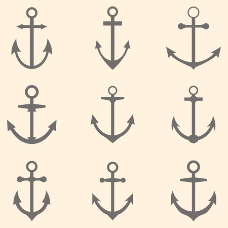 Set of anchors. Anchor symbols template. Vector illustration Vector