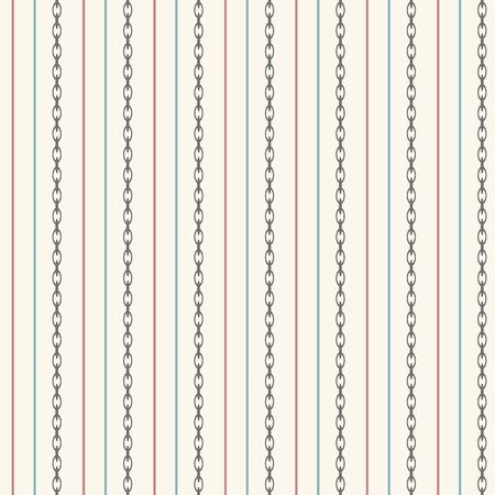 lineas rectas: Patr�n sin fisuras con l�neas rectas y la cadena del ancla. Ilustraci�n vectorial