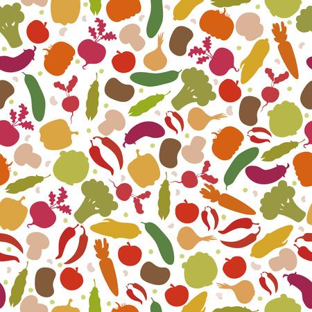 야채와 벡터 원활한 패턴입니다. 모듬 야채. 벡터 일러스트 레이 션 일러스트