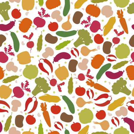 Vector seamless pattern with vegetables. Assorted vegetables. Vector illustration