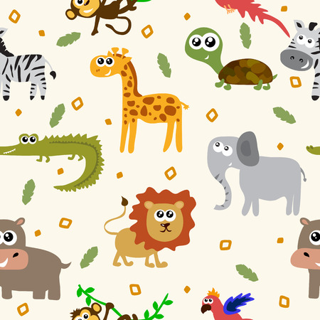 African animals seamless pattern. Cartoon childish animals. Vector illustration Vectores