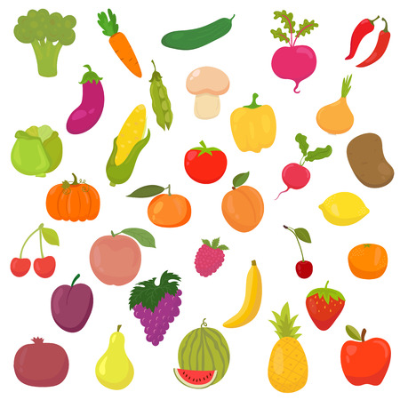 Big collection of vegetables and fruits. Healthy food. Vector illustration