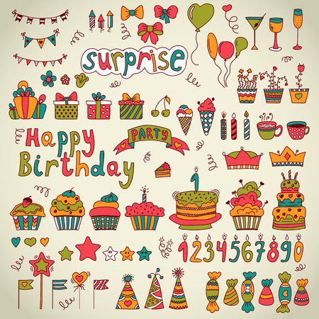Birthday party design. Cute hand drawn elements. Vector illustration Vector