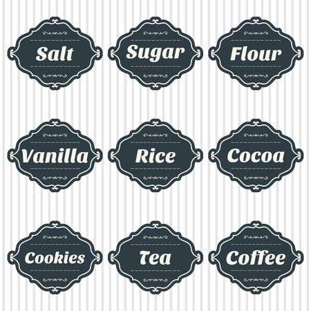 food storage: Food storage labels. Kitchen food storage tags collection. Vector illustration Illustration
