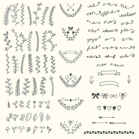 Hand Drawn vintage floral elements. Handsketched vector design elements. Vector illustration