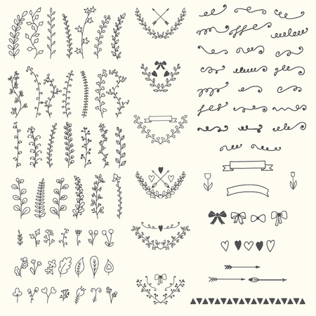 Hand Drawn vintage floral elements. Handsketched vector design elements. Vector illustration