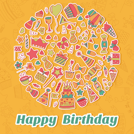 Happy Birthday card. Birthday party background. Vector illustration