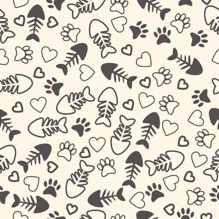 고양이 발 인쇄, 생선 뼈, 그리고 마음과 원활한 패턴입니다. 끝없는 배경. 벡터 일러스트 레이 션