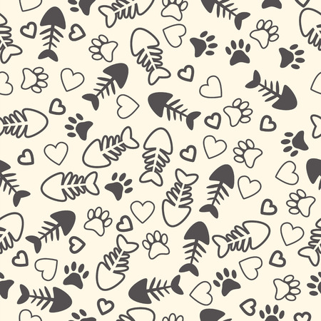 Seamless pattern with cat paw prints, fish bone, and hearts. Endless background. Vector illustration