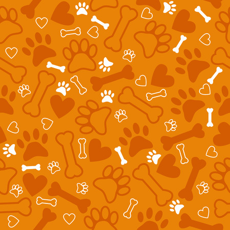 bones of the foot: Seamless pattern with dog paw print, bone and hearts. Orange background. Vector illustration
