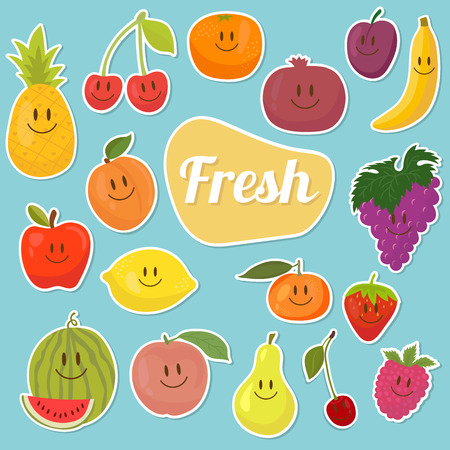 Set of  fruits stickers. Cartoon fruits. Fresh and juicy. Vector illustration Vector