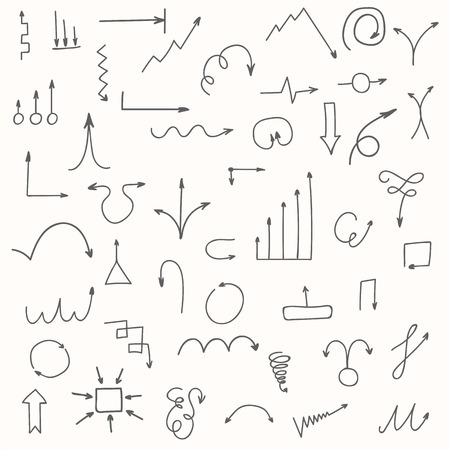 sketched arrows: Set of hand drawn arrows. Sketched style. Vector illustration