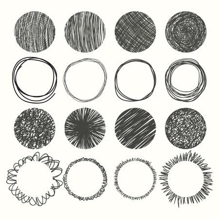 Set of hand drawn circles. Vector design elements. Vector illustration