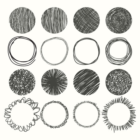 Circle: Set of hand drawn circles. Vector design elements. Vector illustration