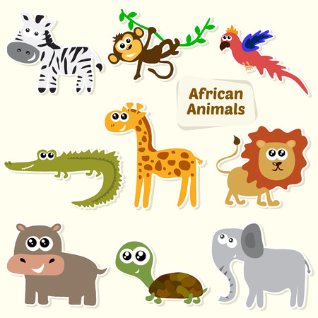 Set of jungle animals. Cute cartoon African animals. Vector illustration