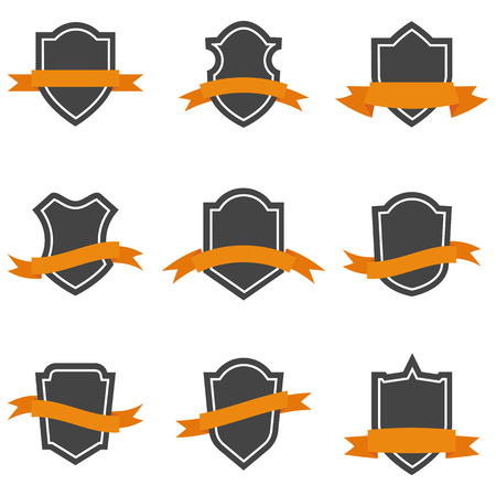 Set of shield icons with ribbons. Vector illustration