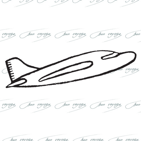 bon: Abstract seamless pattern with plane. Bon Voyage design. Vector illustration