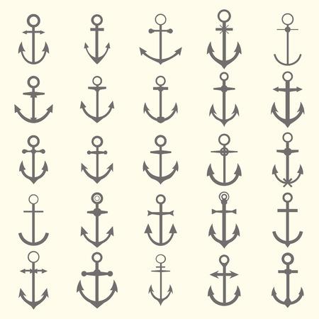 ancla: Gran conjunto de anclajes. S�mbolos de anclaje o logotipo de la plantilla. Ilustraci�n vectorial Vectores