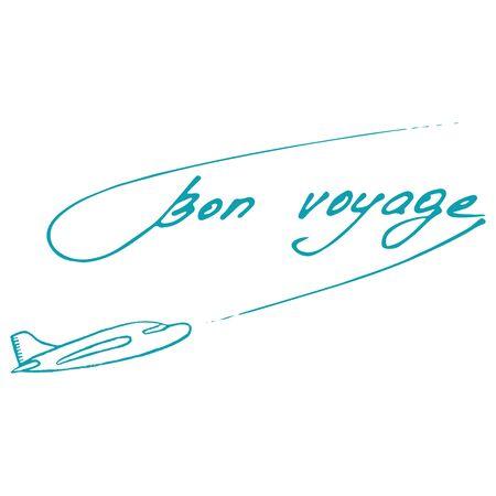 bon: Bon Voyage design. Summer postcard. Vector illustration