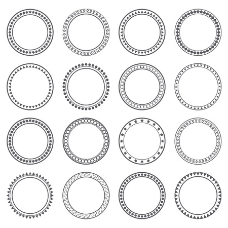 Collection of ethnic borders. Round frames. Decoration elements. Vector illustration
