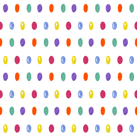 Cute seamless pattern with oval confetti. Donut glaze with colorful candy. Vector illustration Ilustração