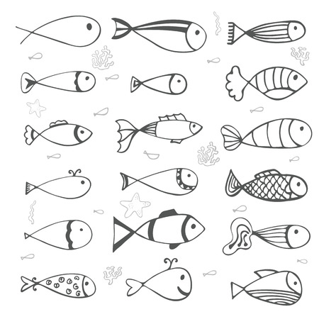 Fish collection on white background. Hand drawn style. Vector illustration Vector