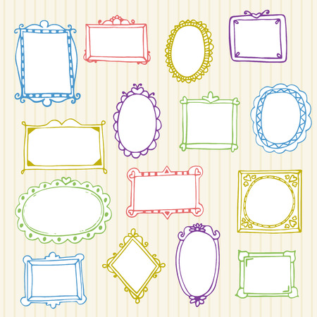 Set of hand drawn frames. Hand drawn design elements. Vector illustration