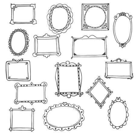 vintage photo frame: Set of hand drawn frames. Vector illustration