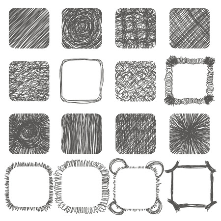 Set of hand drawn scribble shapes. Vector design elements. Lines textures, hatching, scratch. Vector illustration Stock Illustratie