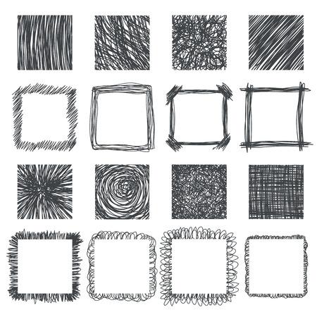 손으로 그린 사각형으로 설정합니다. 벡터 디자인 요소입니다. 라인 텍스처, 부화, 스크래치, 펜 낙서. 벡터 일러스트 레이 션