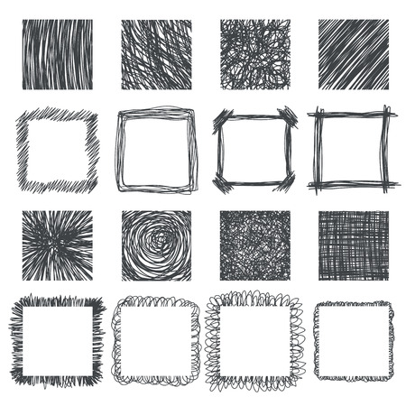 Set of hand drawn squares. Vector design elements. Lines textures, hatching, scratch, scribbles of pen. Vector illustration