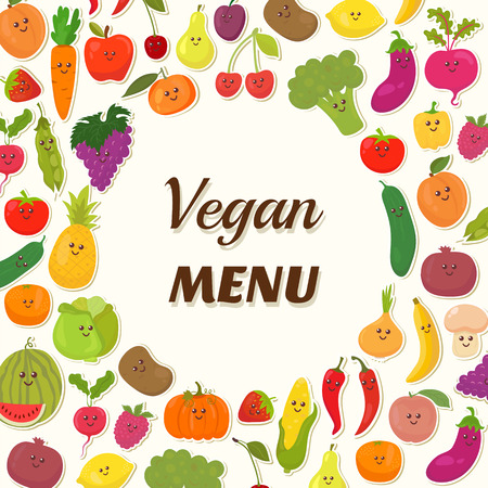 채식 메뉴 배경. 채식 카드 디자인. 귀여운 과일과 야채. 벡터 일러스트 레이 션