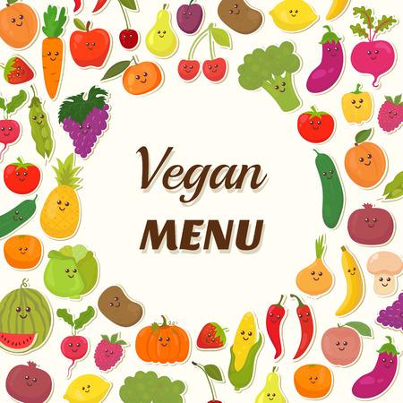 Vegan menu background. Vegetarian Card Design. Cute fruits and vegetables. Vector illustration Vectores