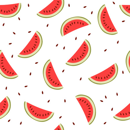 Cute seamless background with watermelon slices.