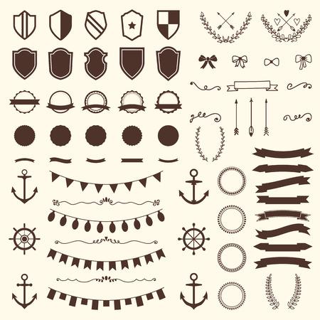 escudo: Colecci�n de escudos, insignias y etiquetas. Vectores