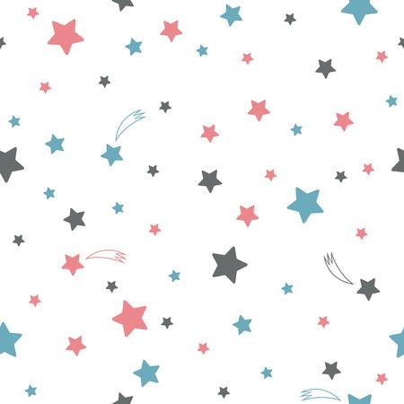 Roztomilý bezešvé vzor s hvězdami Ilustrace