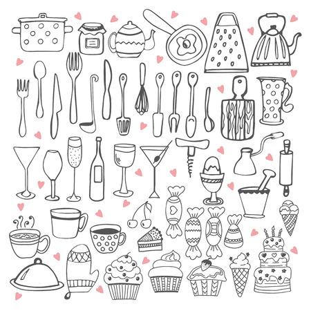 Kitchen utensils collection illustration