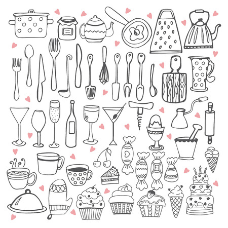 Kitchen utensils collection illustration