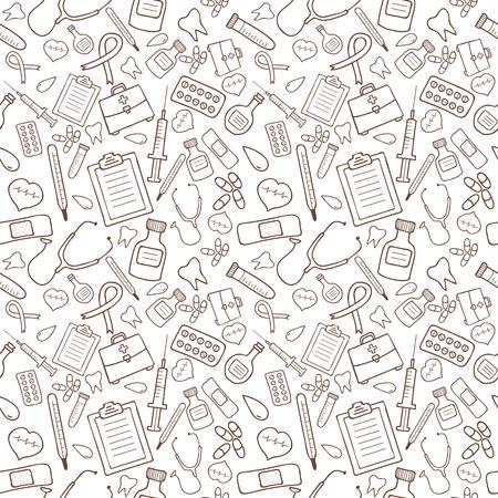 흰색 배경에 의료 아이콘 원활한 패턴