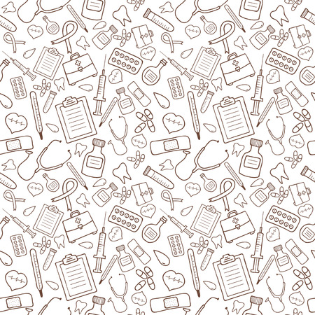 Seamless pattern with medical icons on white background Vector