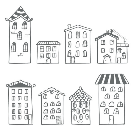 Set of houses in doodle style 矢量图像