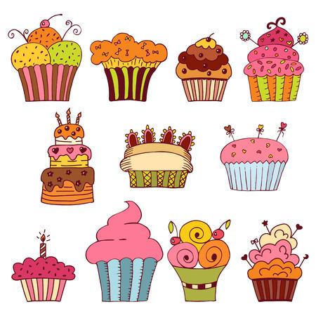delicious: set of delicious cupcakes