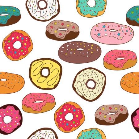 Donuts seamless pattern background Ilustração