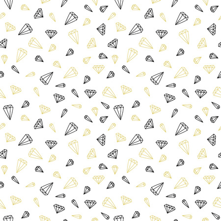 Hand drawn seamless pattern with diamonds Vector