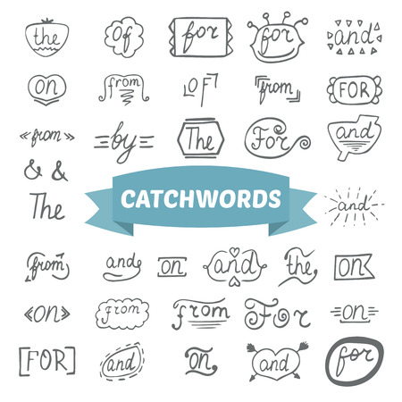 hand lettered: Hand lettered catchwords. Hand drawn set Illustration